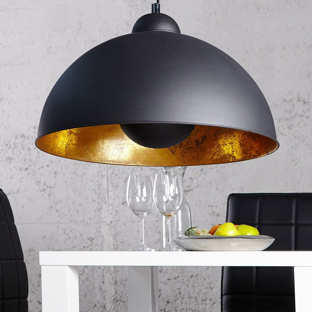 moderne h ngelampe studio schwarz gold lampe blattgold h ngeleuchte lampen dehnhardt ideen. Black Bedroom Furniture Sets. Home Design Ideas