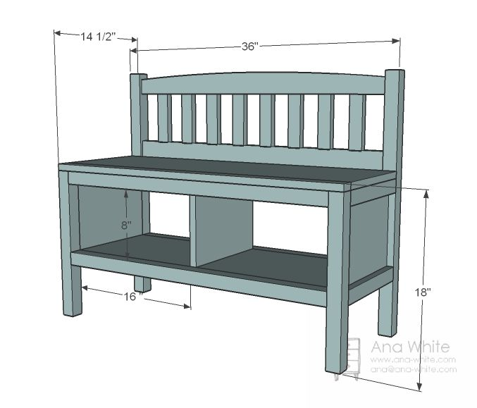 ana white | build a cottage bench with storage cubbies | free and, Garten ideen