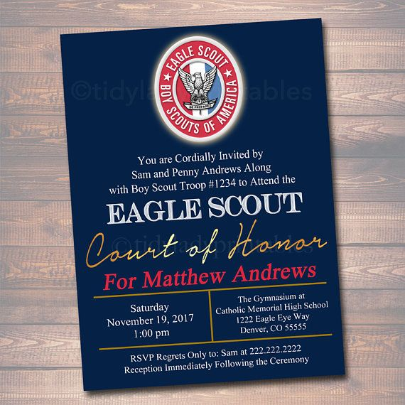 Editable Eagle Scout Court Of Honor Invitation Boy Scout