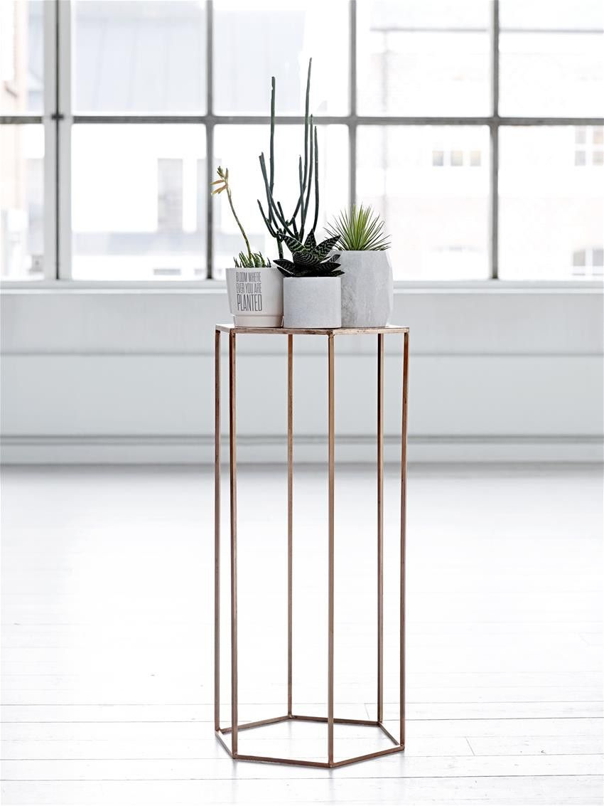 Pentagonal Tall Side Table Or Plant Stand   Copper (ex Display) U2013 Mink
