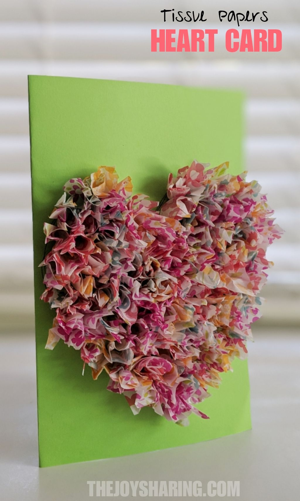 3d Tissue Paper Heart Card With Images Easy Arts And Crafts