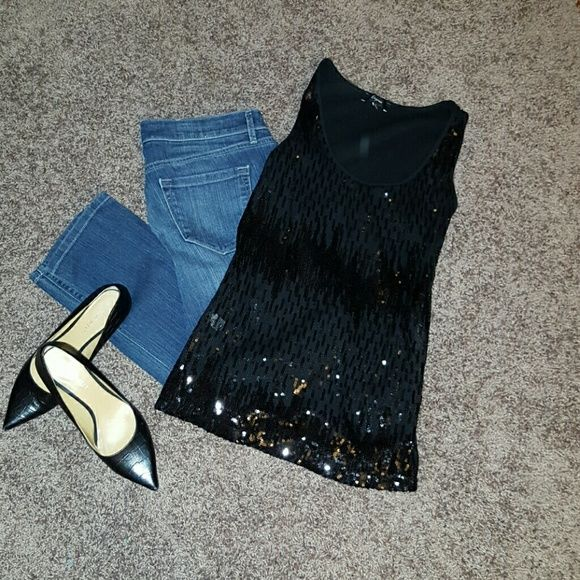 Sequin tank top Black sequin tank top by express. A great statement piece. Express Tops Tank Tops