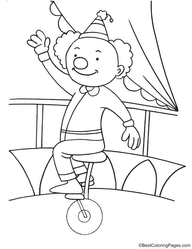 Clown Riding Unicycle Coloring Page In 2020 Coloring Pages Coloring Pages For Kids Color