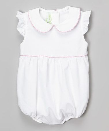 fab0e4abe Loving this White Trim Angel-Sleeve Bubble Romper - Infant on #zulily! # zulilyfinds