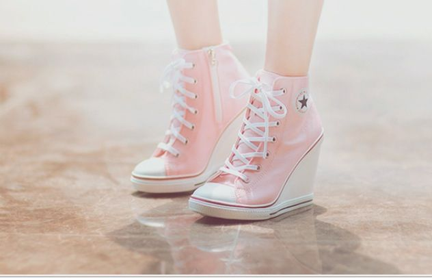 Cute pink converse wedge $55 | Trending heels, Converse