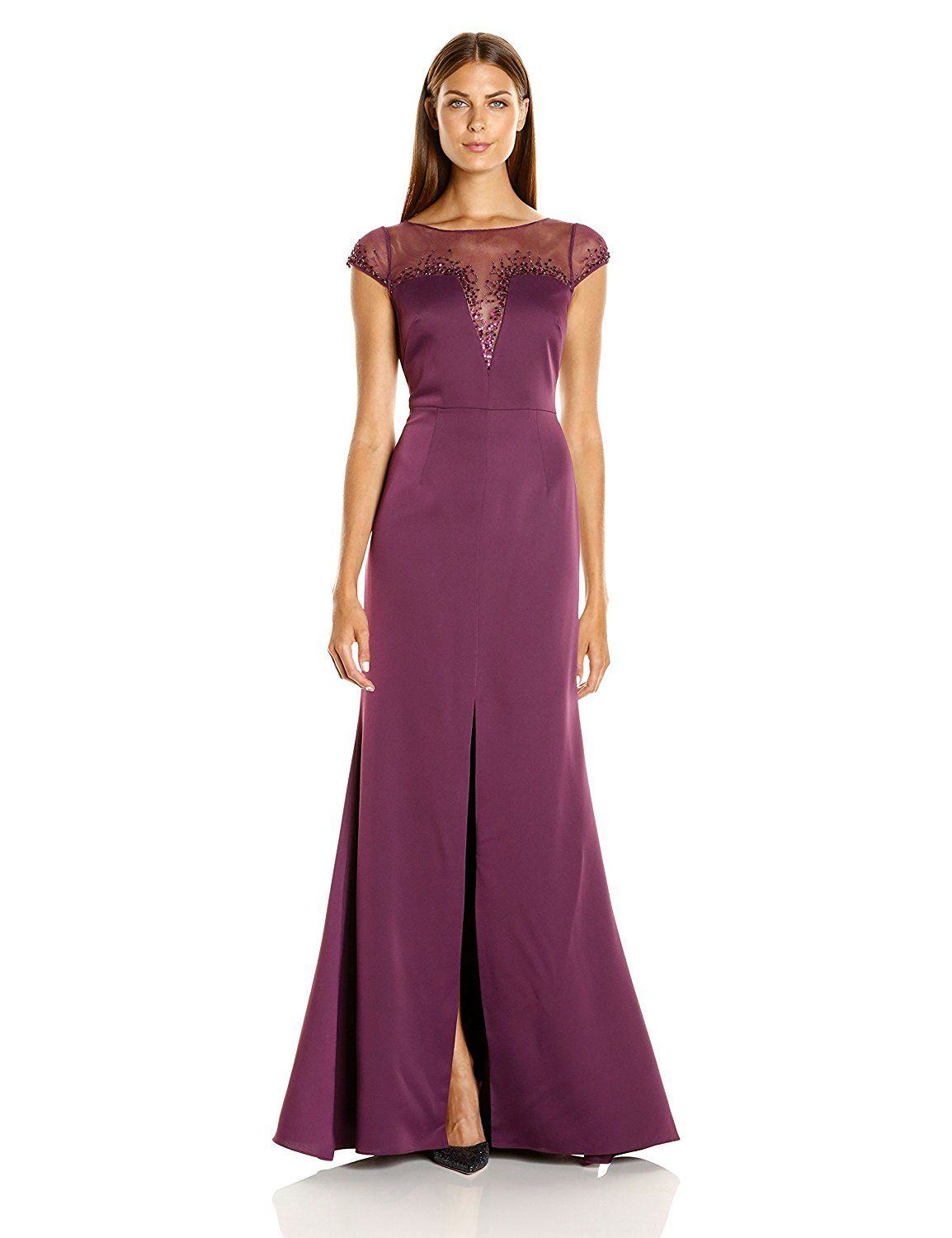 Amazon.com: Adrianna Papell Women\'s Beaded Crepe Satin Gown ...