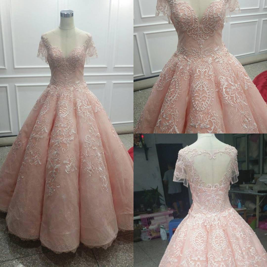 Ball gown prom dresses scoop pearl pink lace appliques long prom