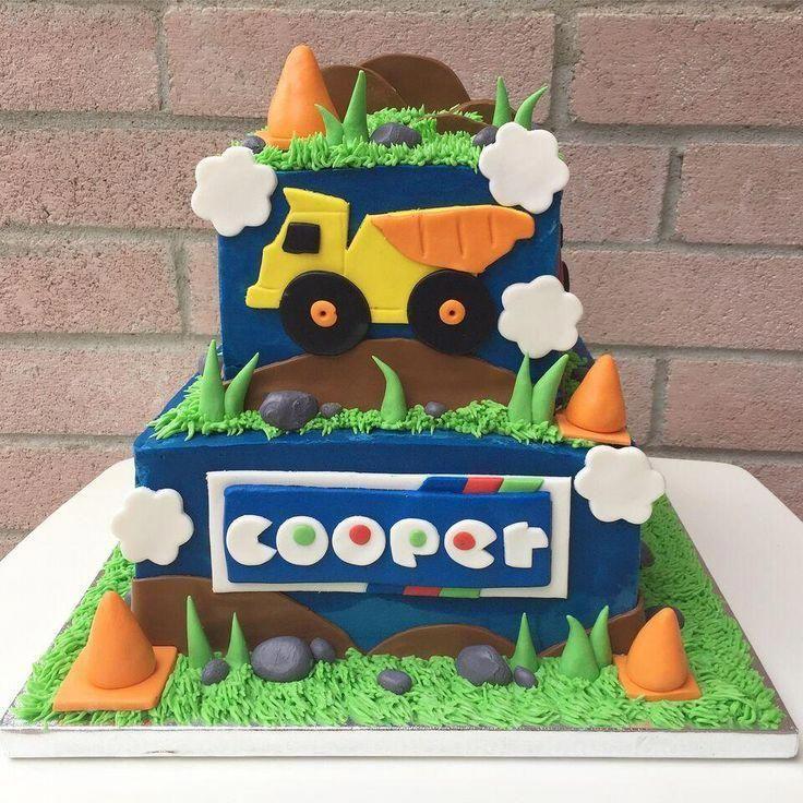 Dump truck first birthday cake on hive