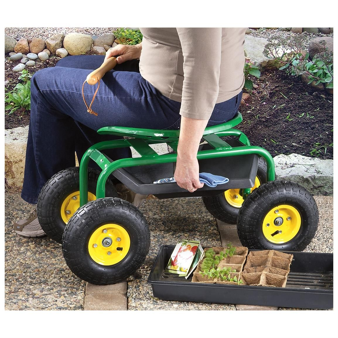 CASTLECREEK Rolling Garden Seat with Builtin Tray Gardens