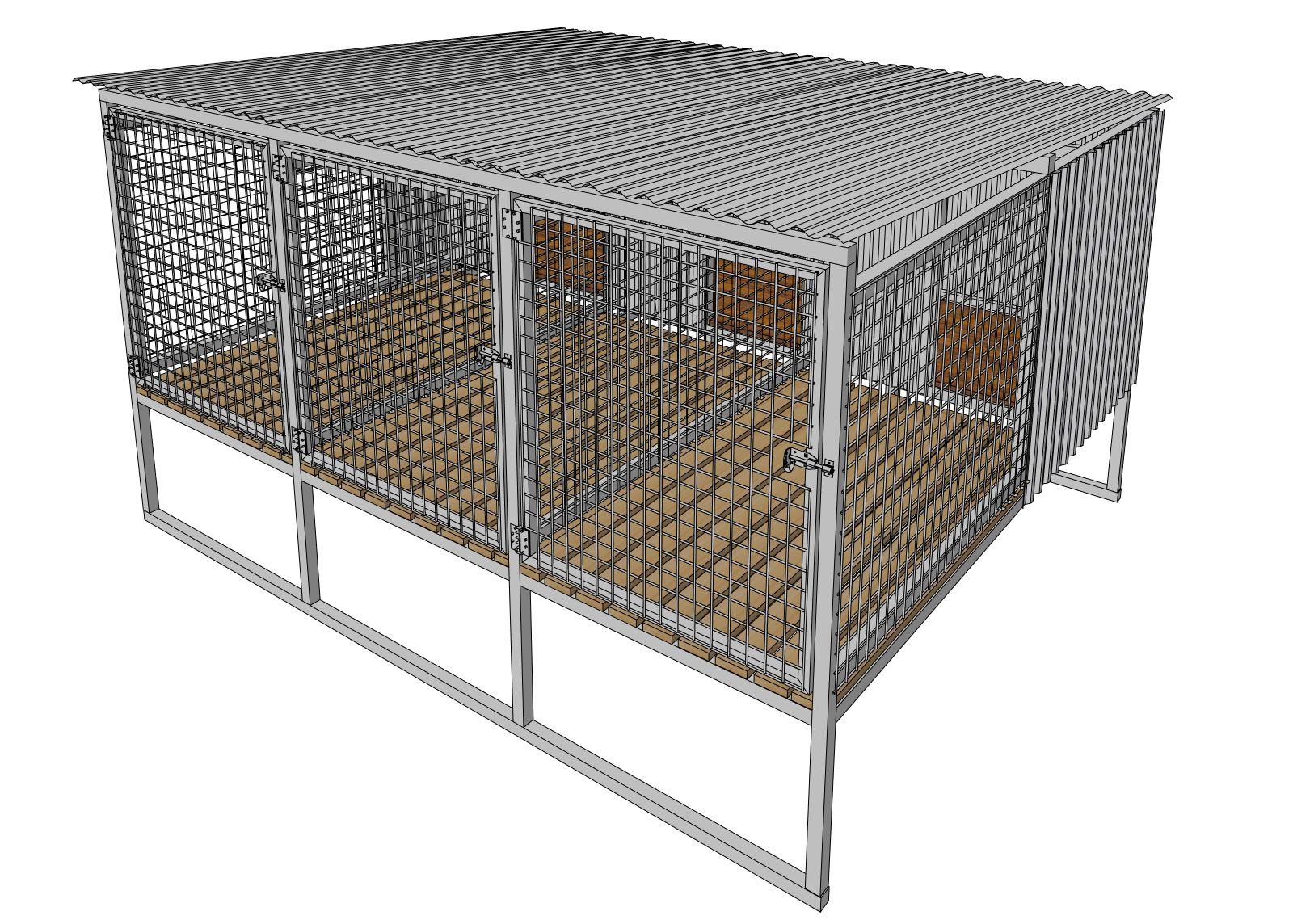 3 Bay Raised Dog Cage Or Kennel Dog Kennel Kennel Dog Cages