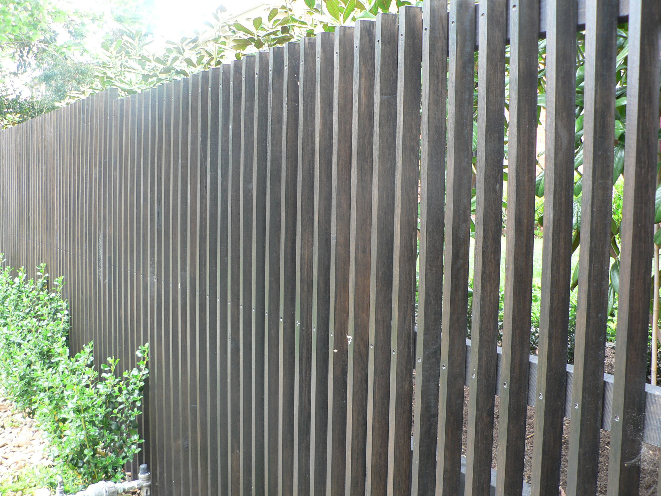 Vertical Timber Pickets Stained In A Rich Chocolate