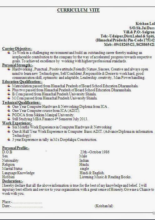 bio data formats Sample Template Example ofExcellentCurriculum - objective in resume for freshers