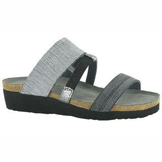 Brenda Slide Sandal in Light Gray/Black