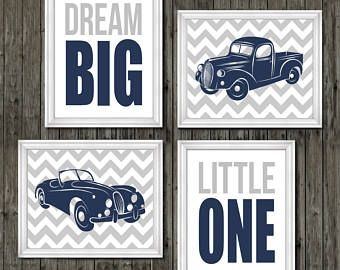 Vintage car and truck prints, vintage nursery, navy blue, gray, transportation n…