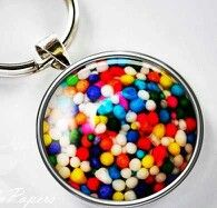 Colorful candy sprinkle keychain pendant~