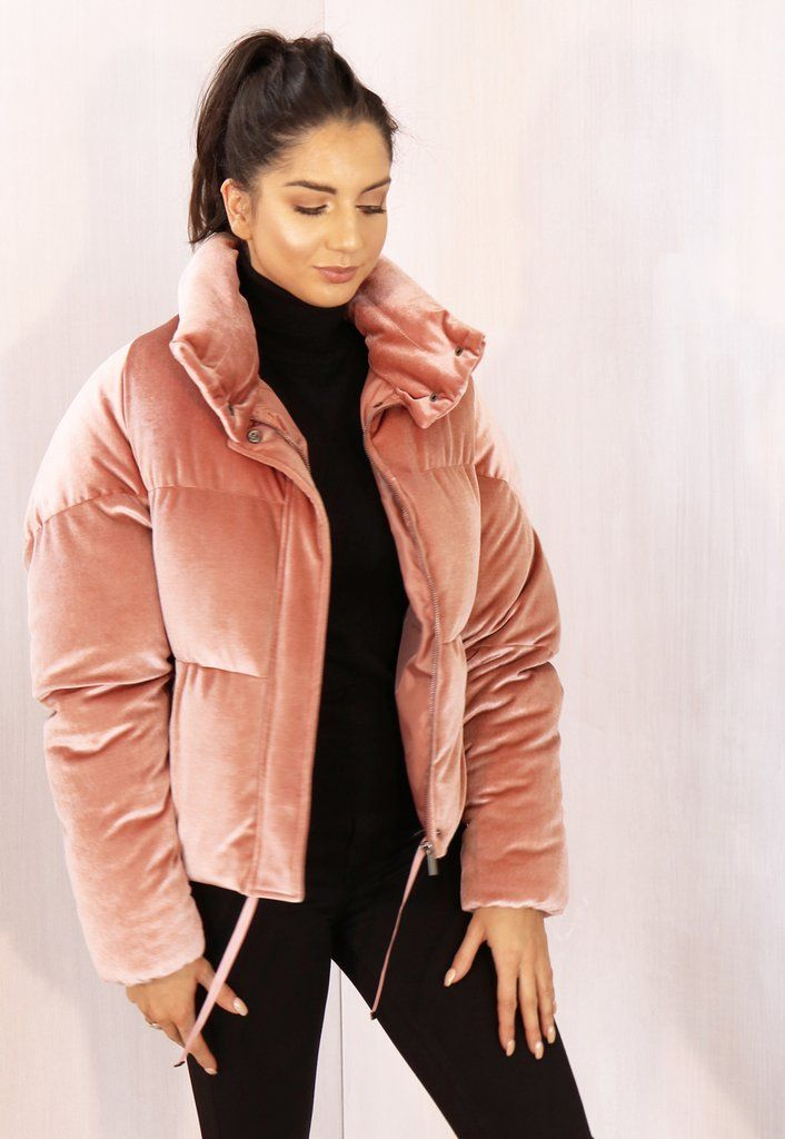 Boxy Cropped Padded Velvet Puffer Jacket with Funnel Neck in