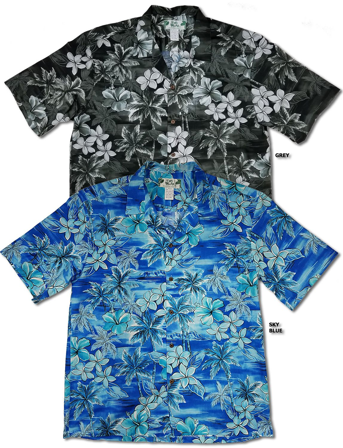 Two Palms Made in Hawaii Mens Hibiscus Panel Aloha Shirt
