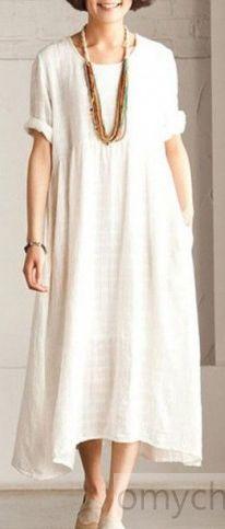 de53e7e36f Fine white Short sleeve linen dress summer long dress