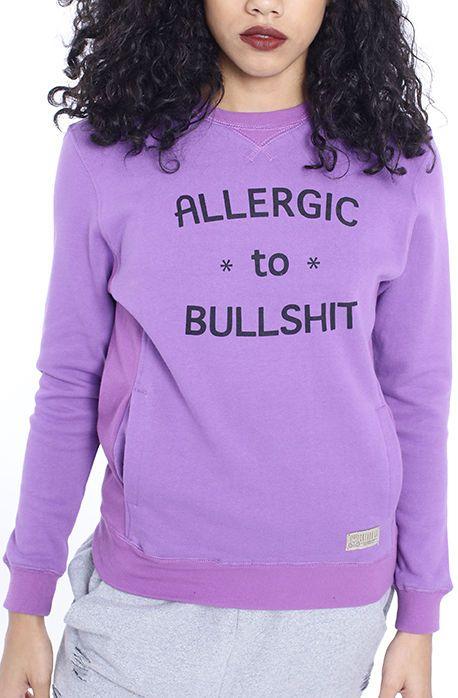 Allergic to BS Purple Womens Crewneck  9beb4547a