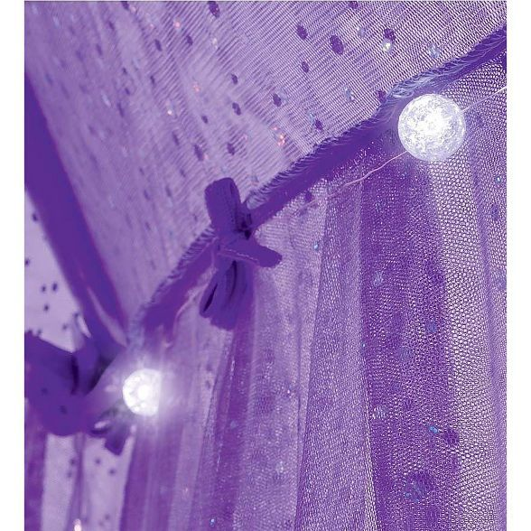 HearthSong - Sparkling Lights Canopy Bower for Kids Beds, Size Twin to Queen, Purple