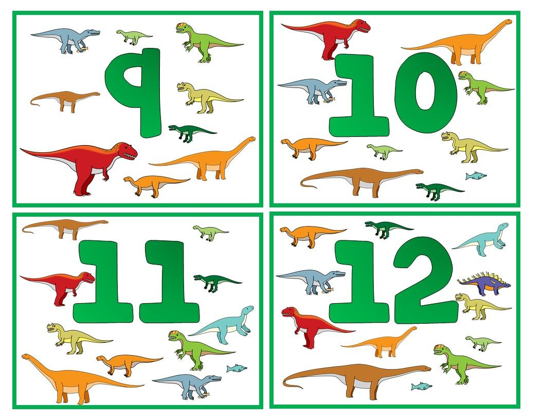 Free Counting Dinosaur Flash Cards