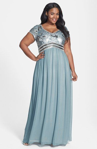 Adrianna Papell Beaded Bodice Short Sleeve V-Neck Gown (Plus ...