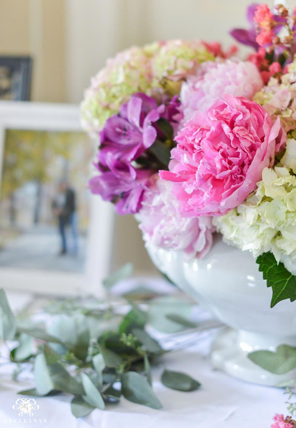 044dcd0be67 Southern Garden Party Bridal Shower Ideas- peony and hydrangea floral  arrangement  Peonies