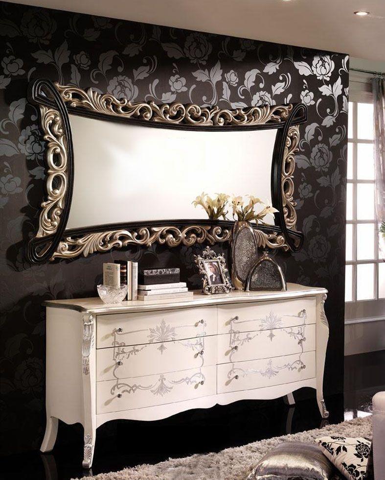 Espejo decorativo de gran formato con marco de poliresina for Espejos con marco de madera blanco
