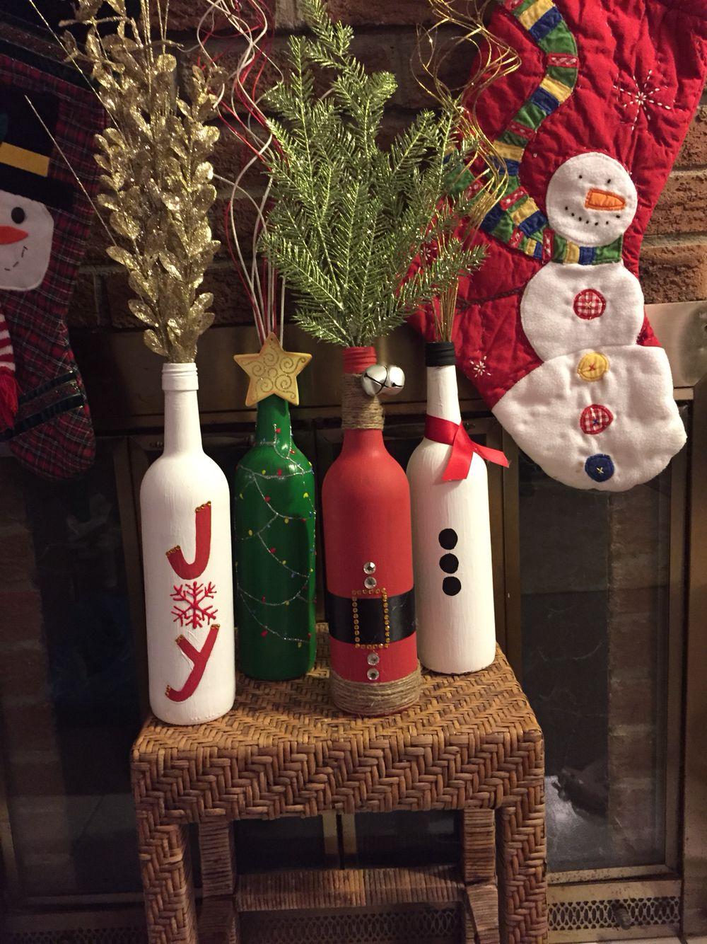 Diy Christmas Wine Bottles Christmas Decor Holiday Decorations Holiday Wine Bottles Diy Diy Bottle Crafts Holiday Wine Bottles