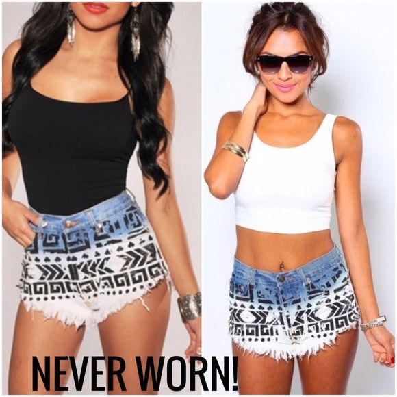 BRAND NEW High-Waisted Aztec Ombré Denim Shorts BRAND NEW. Never worn. Beautiful Aztec/tribal print. Blue to white dip-dye/ombré effect. 5 button closure. Fray hems. Destroyed/distressed detailing. Size: Small. NWOT. Levi's Jeans