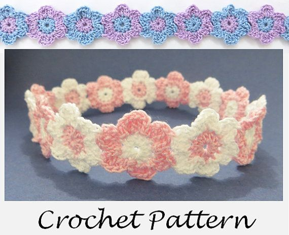 Linked Flowers Headband Crochet Pattern For Any Size Preemie