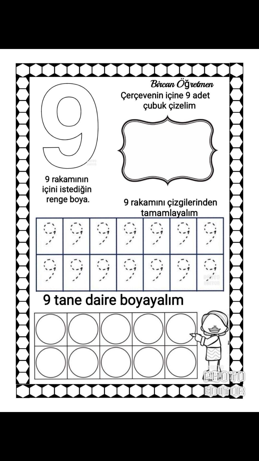9 Rakami Calismasi Matematik Matematik Okul Oncesi