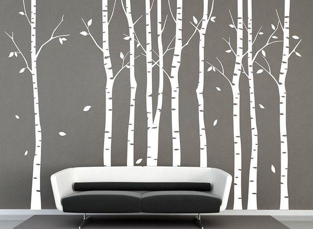 Fabulous Wandtattoo Baum der wei en Birke Waldwandtattoos Birke ein Designerst ck von Amazingdecals bei DaWanda