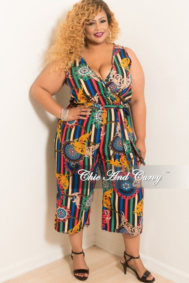 a2a71a60aea Plus Size Sleeveless Faux Wrap Jumpsuit with Attached Tie – Chic And Curvy