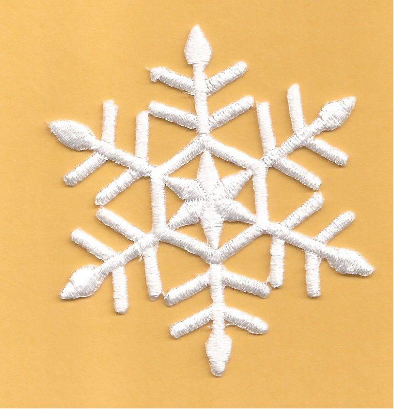"5.7cm Snow White 2.25/"" Snowflake Embroidered Iron On Applique Patch"