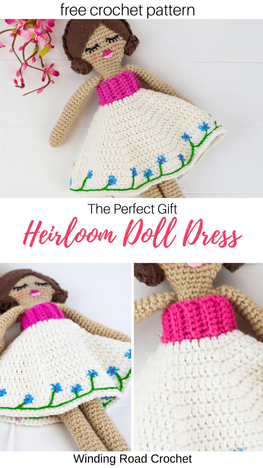 Heirloom Doll Dress Pattern - Winding Road Crochet #dolldresspatterns