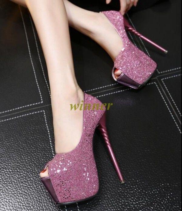 17Cm High Heel Womens Nighclub High Platform Stilettos Open Toe Pumps Shoes  Sz a3effb9c8d81