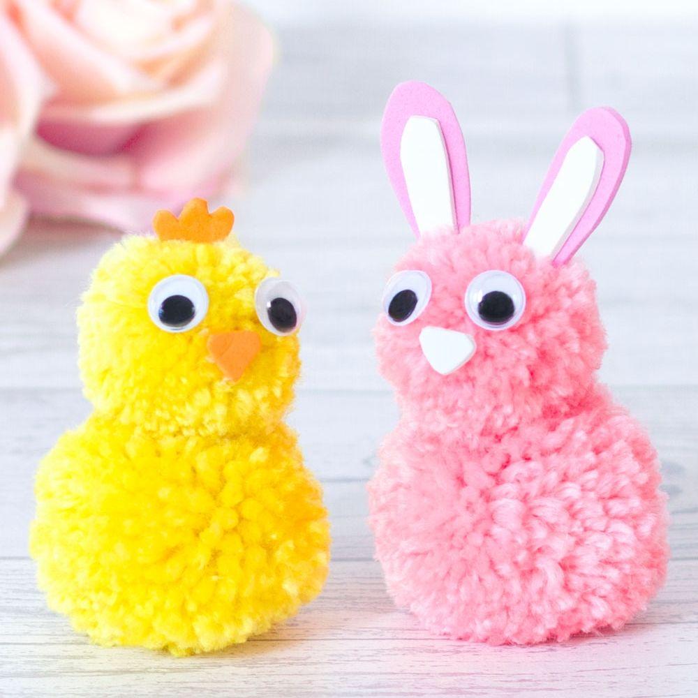 Mar 15 Bunny And Chick Easter Pom Pom Craft Noah S Ark Diy
