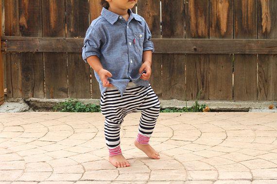 Baby Boy Baby Girl marineblau Elfenbein gestreiften Harem Hose: Wähle deine Bund und Manschetten Senf gelb, grau oder rot.