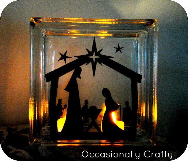 Craft block nativity silhouette