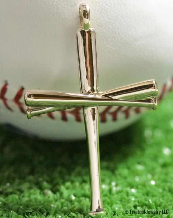 This gold baseball bat cross is perfect for any player or fan