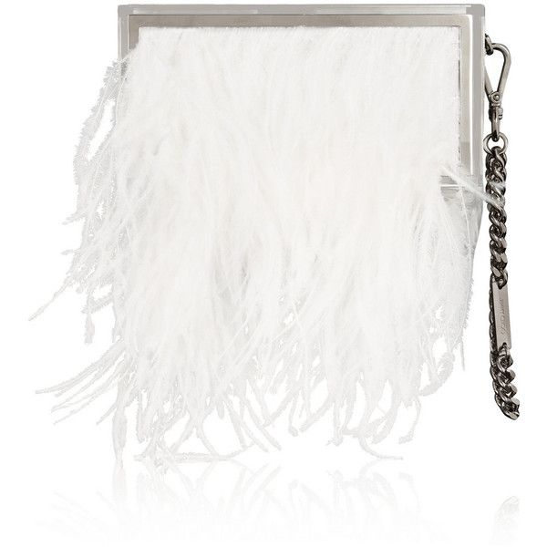 Jimmy Choo Box feather and metal clutch (€2.525) ❤ liked on Polyvore featuring bags, handbags, clutches, jimmy choo handbags, feather purse, chain handbags, white box clutch and metal purse