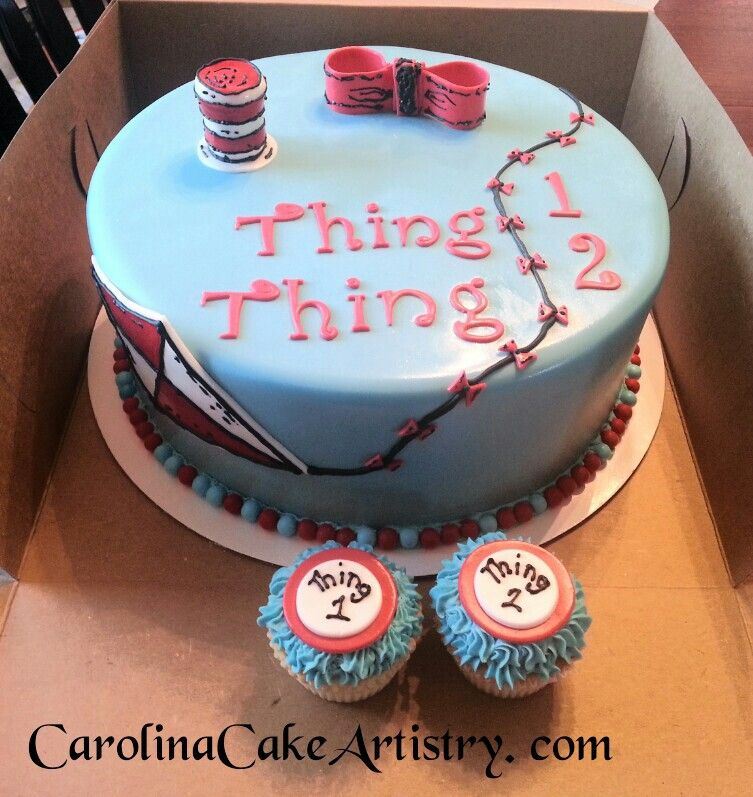 Thing 1 2 cake and cupcakes So cute Birthday CakesCupcakes