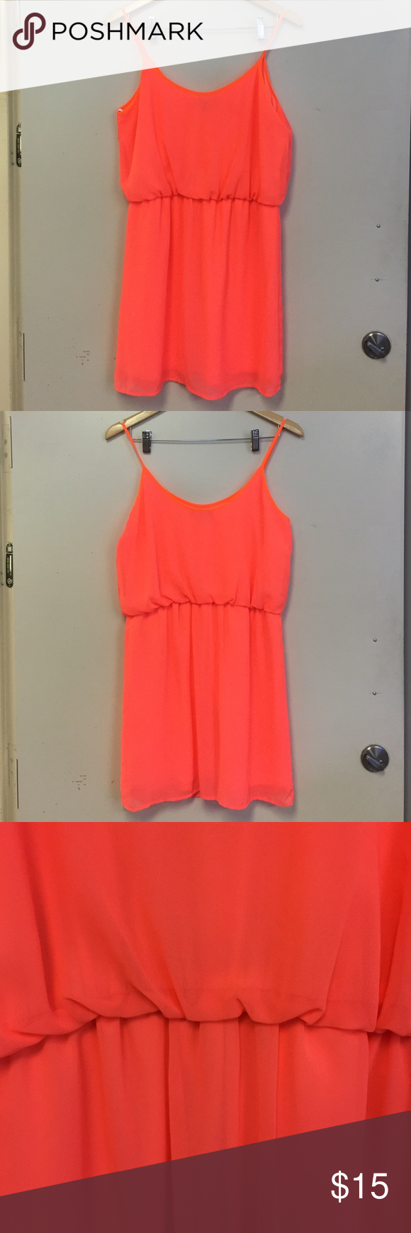 Bright Orange Dress Bright orange dress perfect for a summer wedding. Worn once and makes your tan look amazing. Size large. City Triangles Dresses Mini