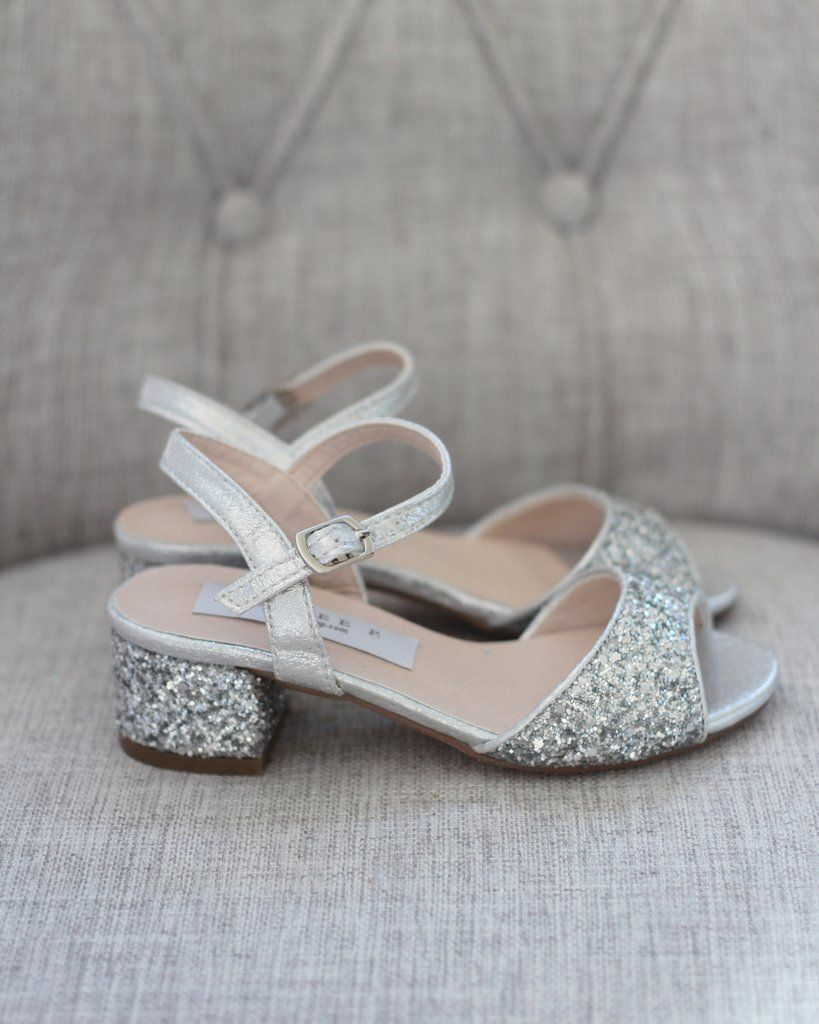 SILVER Rock Glitter Block Heel Sandals