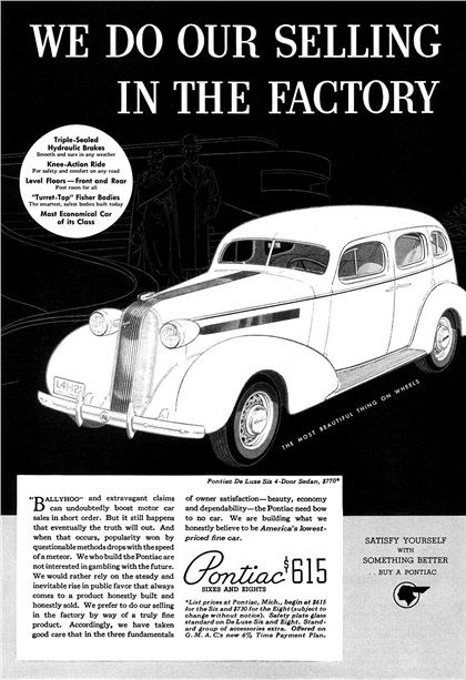 Pontiac De Luxe Six 4-Door Sedan Ad (1936): We do our selling in the factory