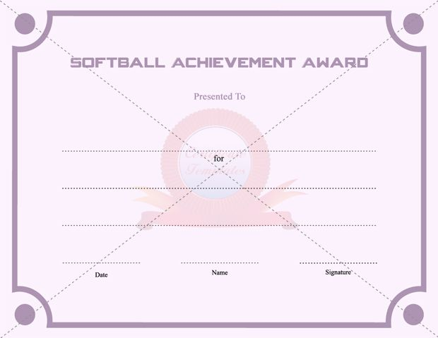 Certificate templates free printable certificate templates softball is getting popular among lots of young kids here we have a softball achievement award certificate template perfect to present as a printable yadclub Choice Image