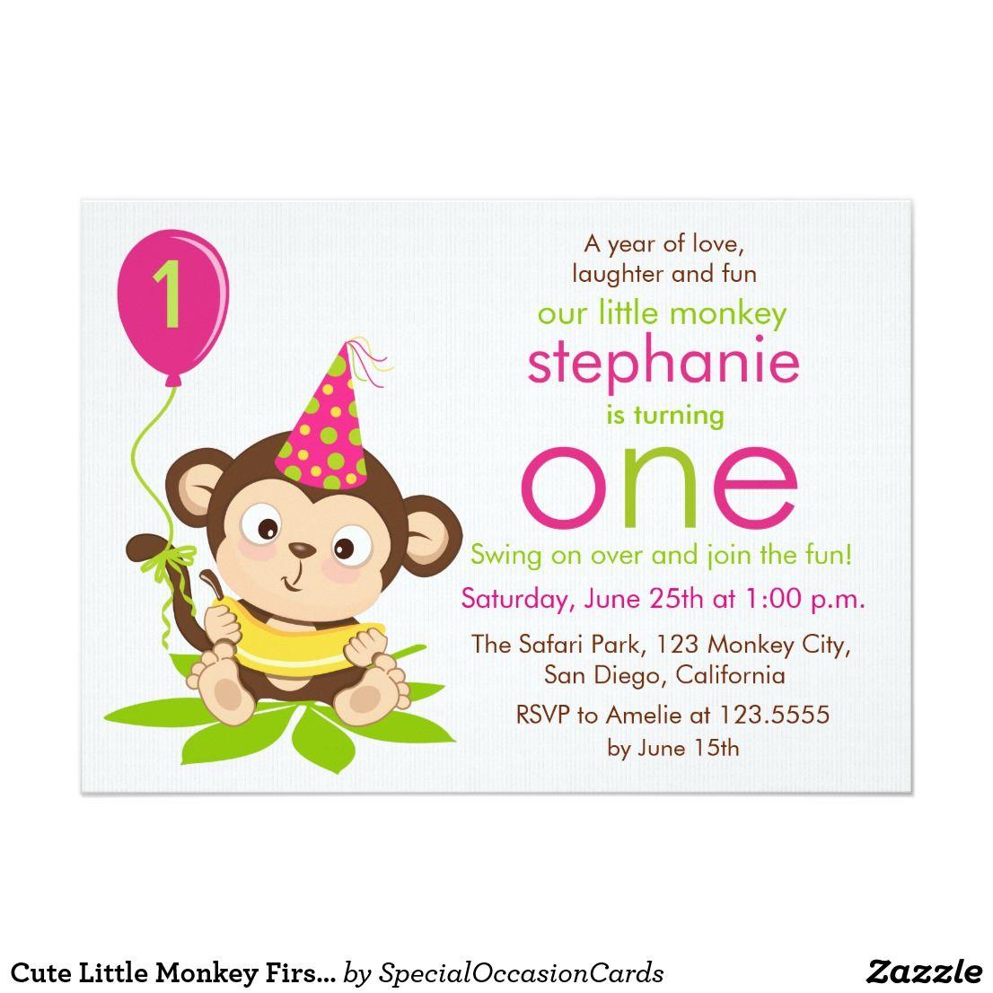 Cute Little Monkey First Birthday Invitation | { Happy Birthday ...
