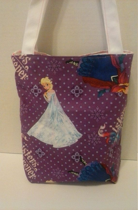 Little girls reversible Frozen Fabric Tote by RebeccaEdwardsQuilts