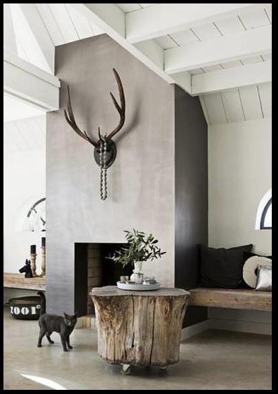 Mooi voor in woonkamer, banken van ruw hout, gewei aan de wand ...